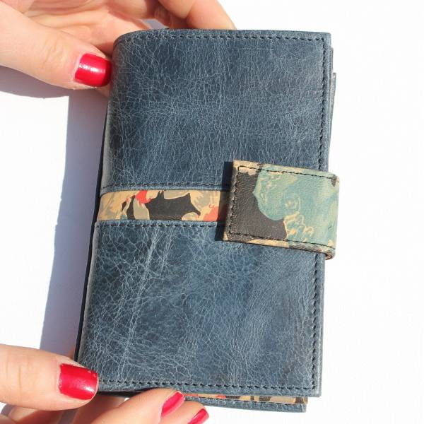 Fifi Navy and Spanish Floral Leather Wallet